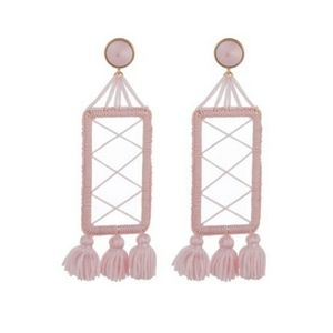 Anthro | Baublebar pink thread wrapped  earrings